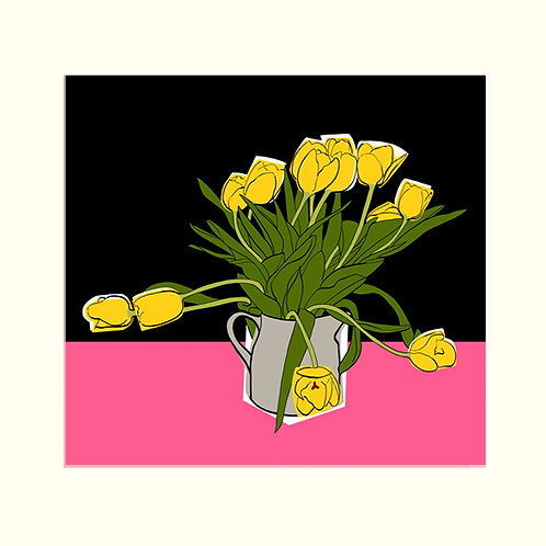 Yellow Tulips on Pink