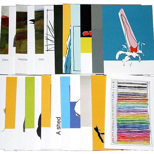 set of 17 postcards