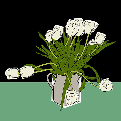 White Tulips on Black and Green