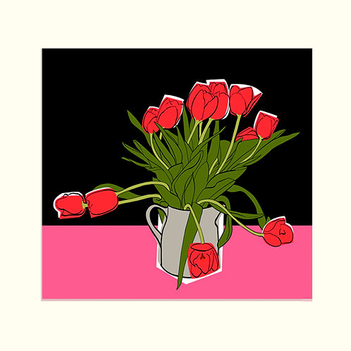 Red Tulips on Pink