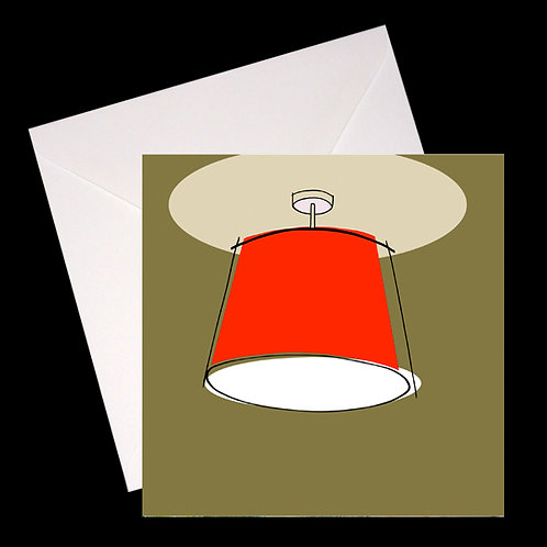 Red Lampshade GREETINGS CARD