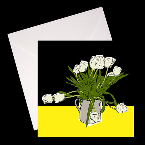 White Tulips GREETINGS CARD