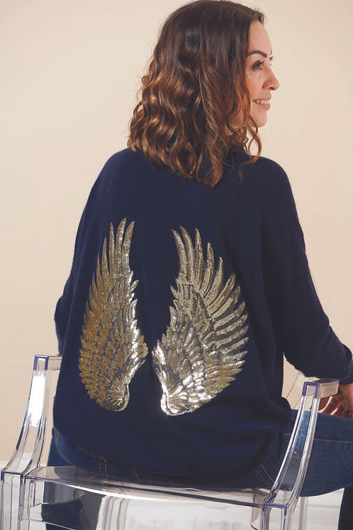 Arkell & Wills Oversized crew with angel wings