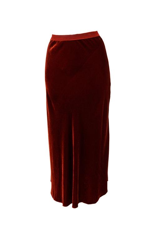 Not Shy Maroon Velvet Skirt