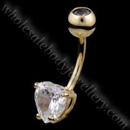 9ct Large Heart Belly Bar (9N21)