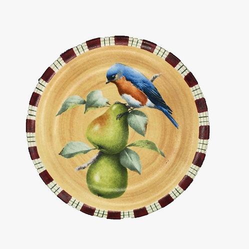 Jg de pratos sobremesa de pássaros e frutas