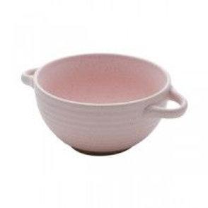 Bowl c/alça rosa cerâmica fosca 02 pçs