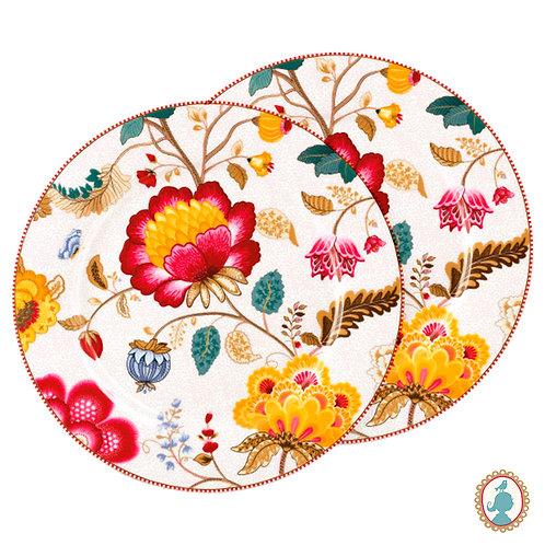 Set/2 Pratos de Pão Branco – Floral Fantasy – PiP Studio®