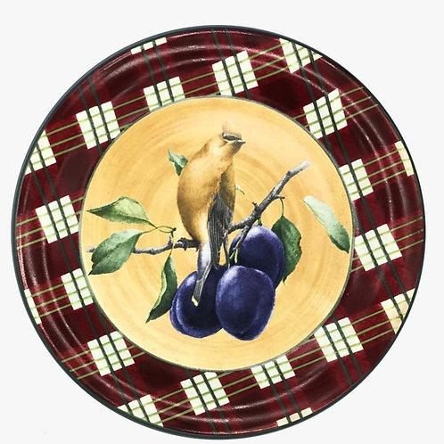 Jg de pratos rasos pássaros e frutas