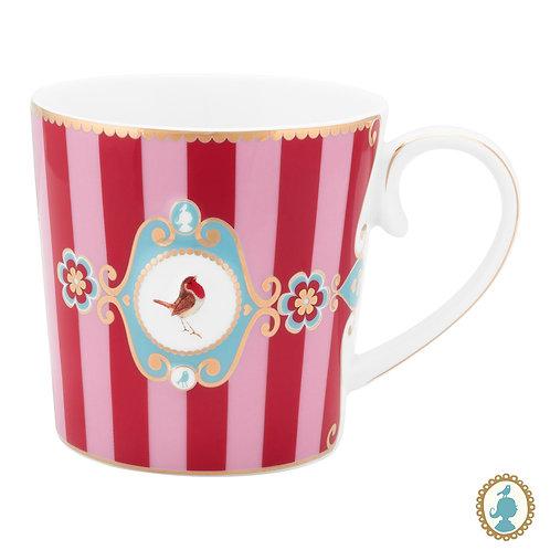 Caneca Grande Medallion Stripes Rosa/Vermelho - Love Birds - Pip Studio