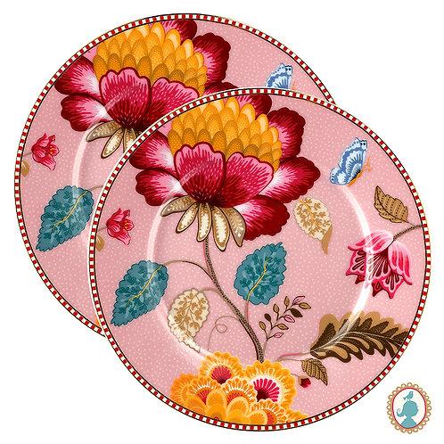 Set/2 Pratos de Pão Rosa – Floral Fantasy – PiP Studio®