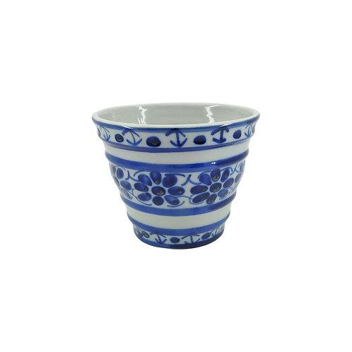 Vaso Cachepot em Porcelana Azul Colonial