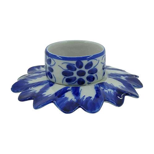 Castiçal 7 dias em Porcelana Azul