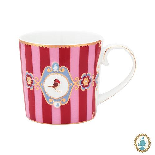Caneca Pequena Medallion Stripes Rosa/Vermelho - Love Birds - Pip Studio