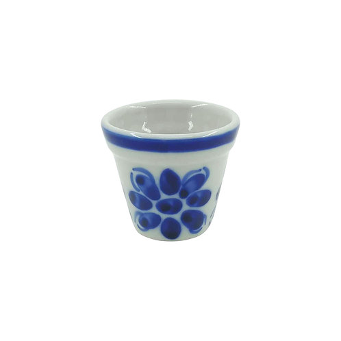Mini-Vaso Cachepot em Porcelana Azul Colonial