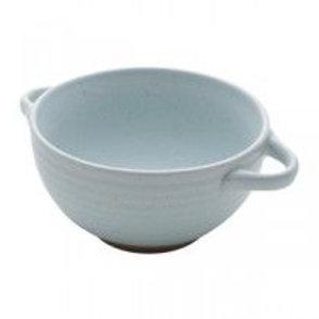 Bowl c/alça azul cerâmica fosca 02 pçs