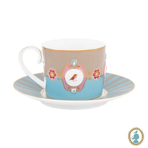 Xícara de Chá Medallion Azul/Cáqui - Love Birds - Pip Studio