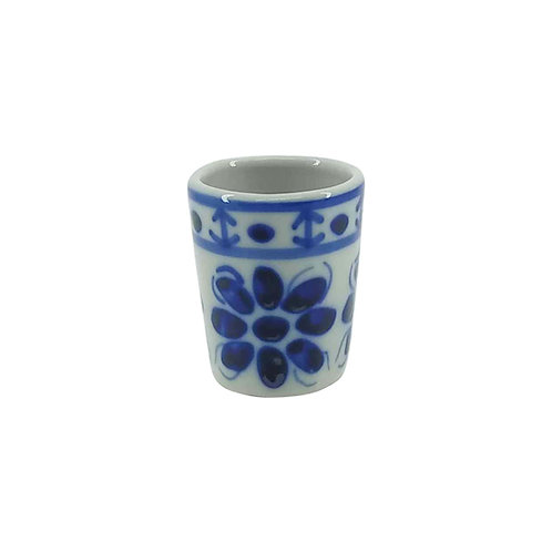Mini Copo de Porcelana Azul Colonial