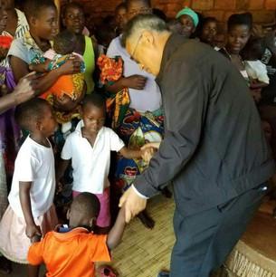 Greeting the children