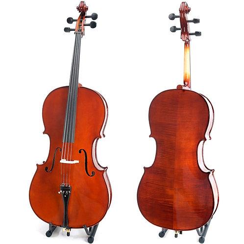 Cello Cecilio hecho a mano con alto flameado de madera solida entallado