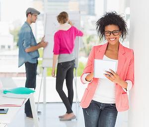 Cheerful marketing people brainstorming