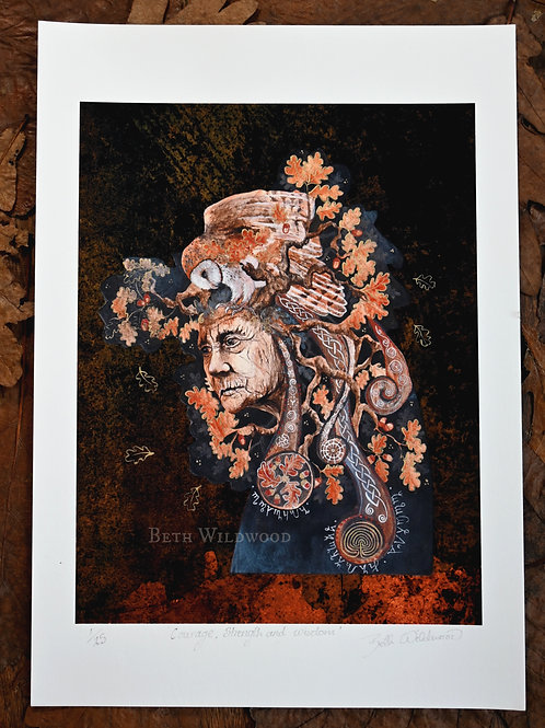 Courage, Strength and Wisdom.... Spirit of Oak Limited Edition Giclee Print, han