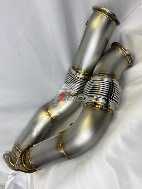 P2uned Dual stainless catless downpipes