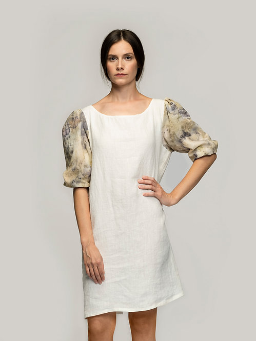 Linen Ecoprinted Ruffled Dress
