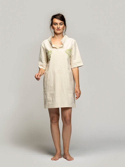 Paper Cotton Dress * Leafy