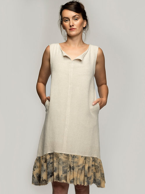 Hemp Dress with Ecoprinted Inserts