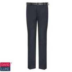 Grey Slim Fit Flat Front Trousers (Sizes W26 to W28