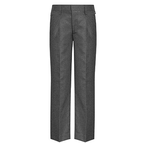Junior Slim Fit Flat Front Elastic Back Grey or Black Trouser