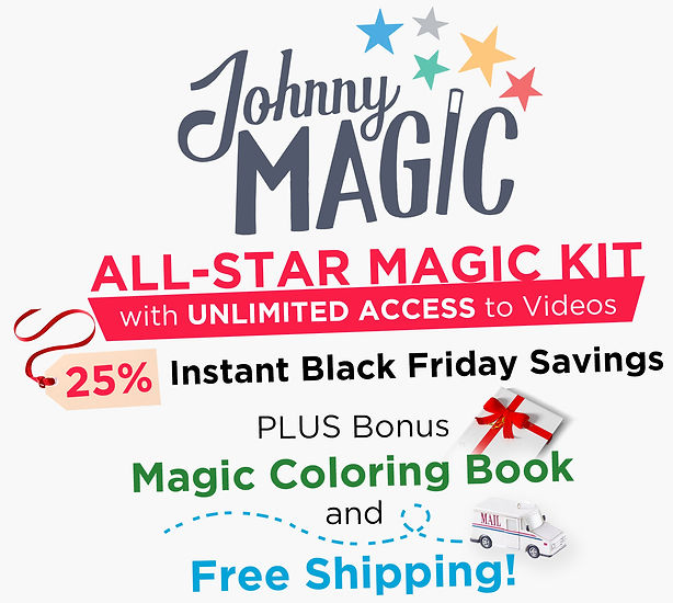 Give the gift of magic - gift the johnny magic all-star magic kit for kids. Great for kids 6+ and a fun magical time for the entire family. Impress your friends, amaze your family, learn magic in a whole new way. Magic sets are fun, inspire creativity and imagination. The ultimate magic kit built for kids.