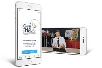 Johnny Magic School App on kids phone.