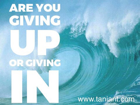 Are you giving up, or are you giving in?