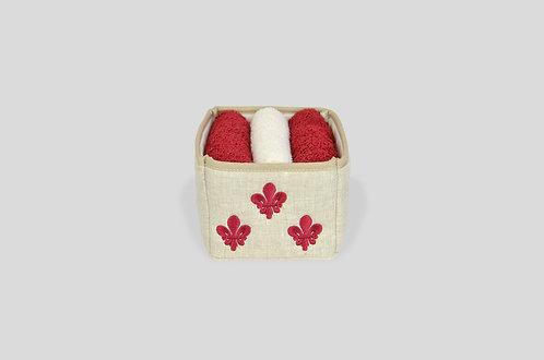cestino imbottito porta lavettes con ricamo giglio fiorentino su lino made in italy rosso