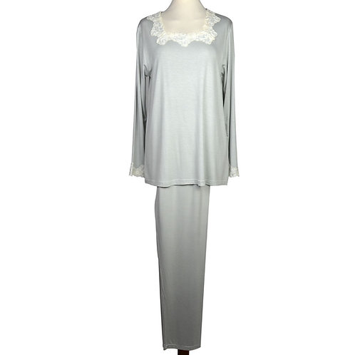 Pigiama da donna in puro modal con elegante pizzo in cotone sul collo e sulle maniche colore grigio
