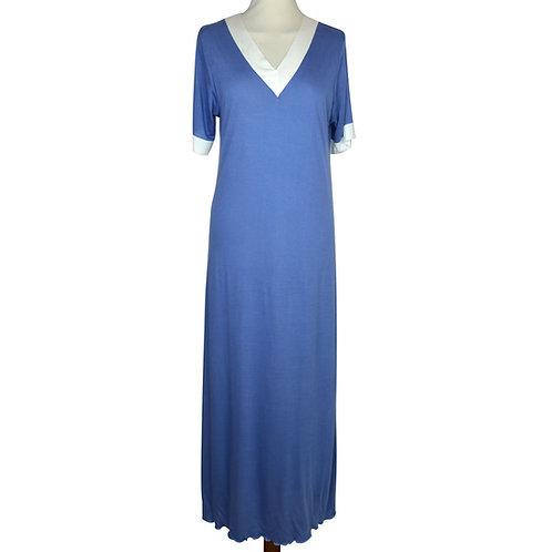 Camicia da notte lunga in 100% micromodal con scollo in raso. Camicia da notte toscana. Made in italy