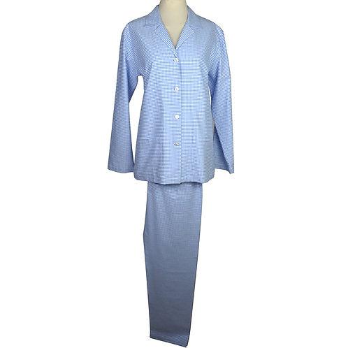 Pigiama da donna in puro cotone a quadretti con bottoni in madreperla-pigiama made in italy