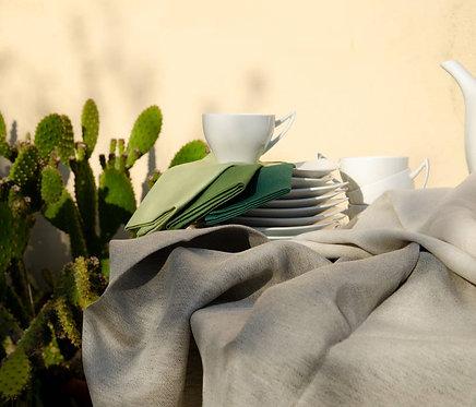 Tovaglia in misto lino bicolore con tovaglioli