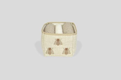cestino imbottito porta lavettes con ricamo api su lino made in italy beige