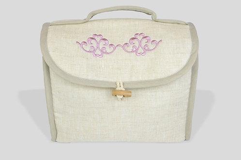 Beauty in lino ricamato con greca online made in italy rosa