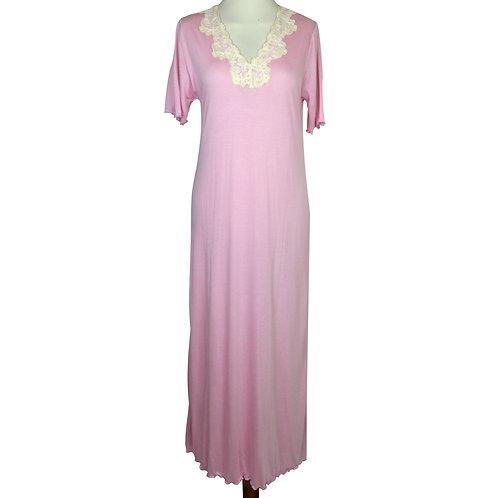 Camicia da notte donna in micromodal con elegante pizzo in cotone applicato. Camicia da notte di produzione italiana