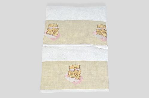 Coppia di spugna 100% italiana made in italy con orso rosa ricamato su lino