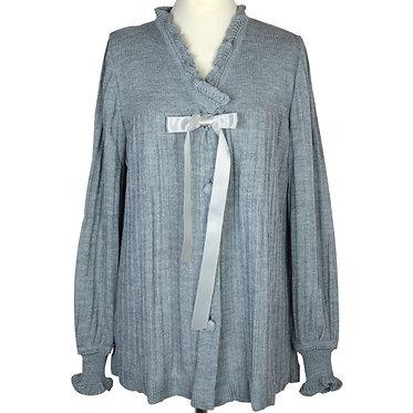 Lingerie-liseuse donna manica lunga in misto lana anallergica-con fiocco in raso-colore grigio