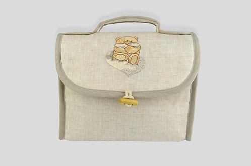 Beauty per bambini in lino ricamato con orso online made in italy principale