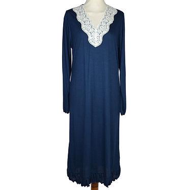 Camicia da notte donna in micromodal con pizzo sangallo di cotone sul collo-colore blu