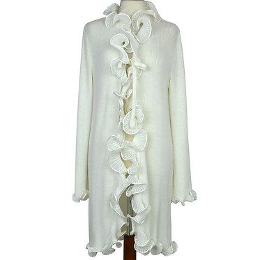 Vestaglia da donna in lana anallergica a manica lunga taglia unica con lavorazione sul collo colore panna