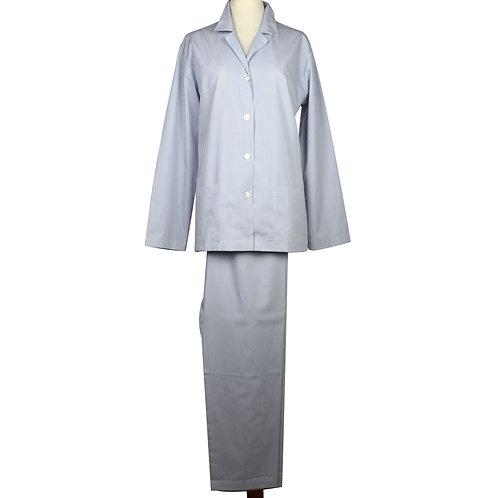 Pigiama da donna in puro cotone a righe con bottoni madreperla-colore azzurro e bianco