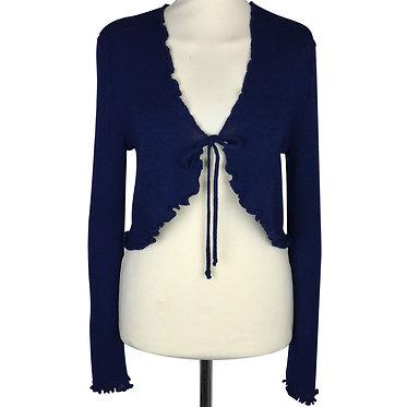 Liseuse da donna in misto lana anallergica con gala, fiocco a chiudere sul davanti. Made in Italy. Colore blu